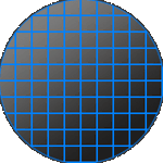 silicon wafer divided into large sensor sizes
