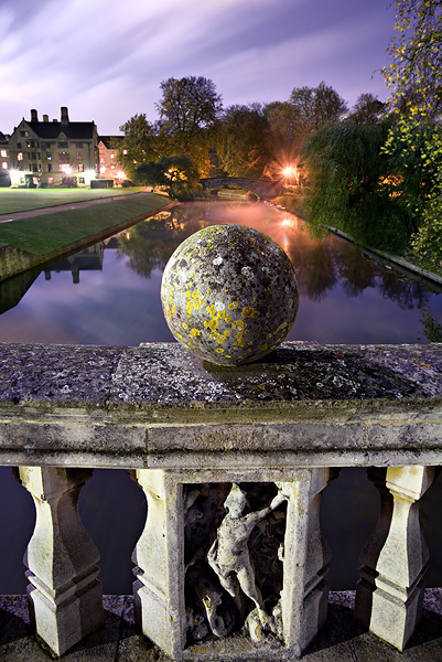 sphere on Clare Bridge within Clare College at Cambridge University in England