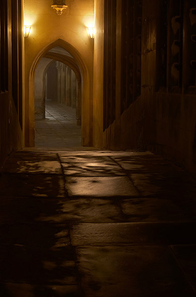 Fog Through Bridge of Sighs - St John's College, Cambridge University in England