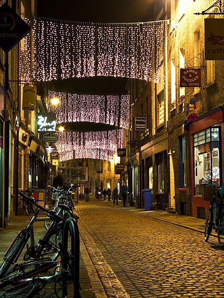 Christmas lights lining the streets of Cambridge, England