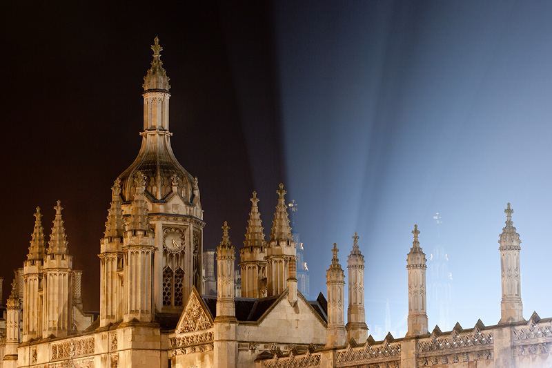 lights emanating from the King's College courtyard at Cambridge University in England