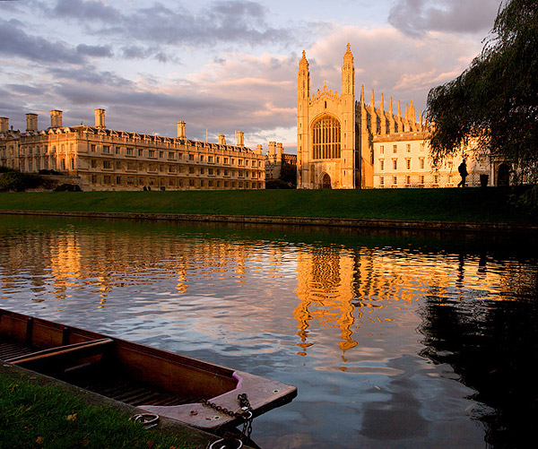 sunset over the River Cam from within King's College at Cambridge University in England