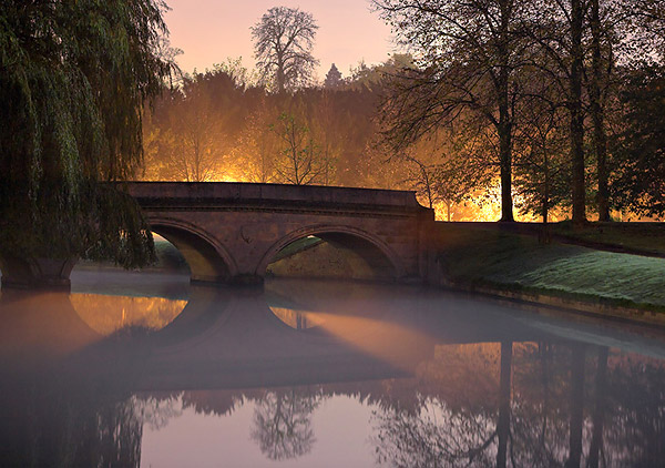 Twilight Fog Under Trinity Bridge - Trinity College, Cambridge University in England