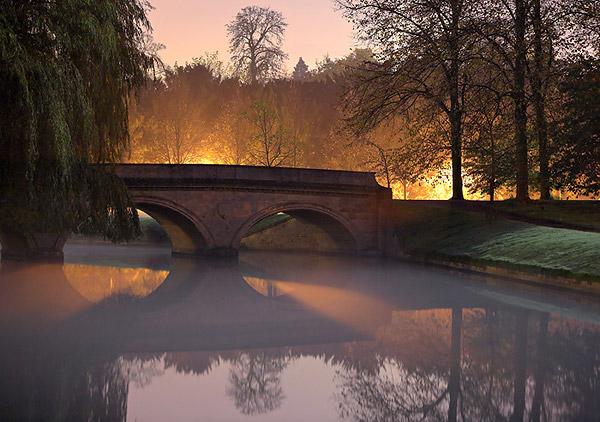 Twilight Fog Under Trinity Bridge - Trinity College, Cambridge University in England