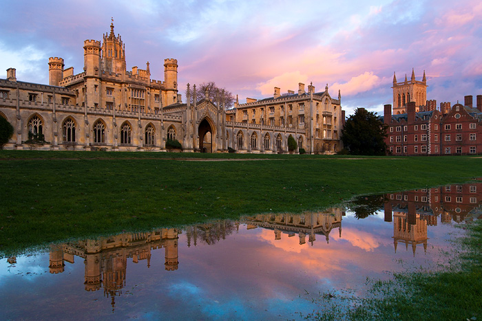 puddle during sunset in New Court within St. John's College at Cambridge University in England