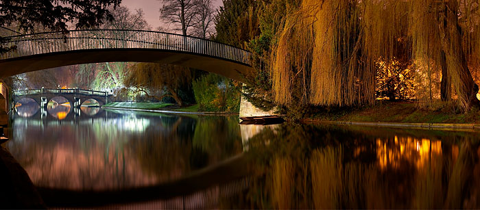 panoramic of a series of bridges over the River Cam at Cambridge University in England