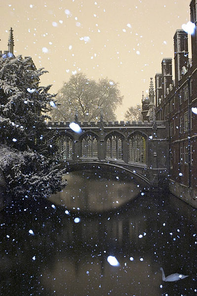Bridge of Sighs in St. John's College During a Snowstorm at Cambridge University in England