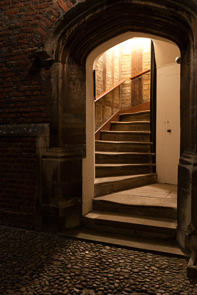 Staircase E of First Court within St. John's College at Cambridge University in England