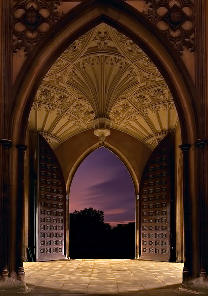 New Court doorway within St. John's College at Cambridge University in England