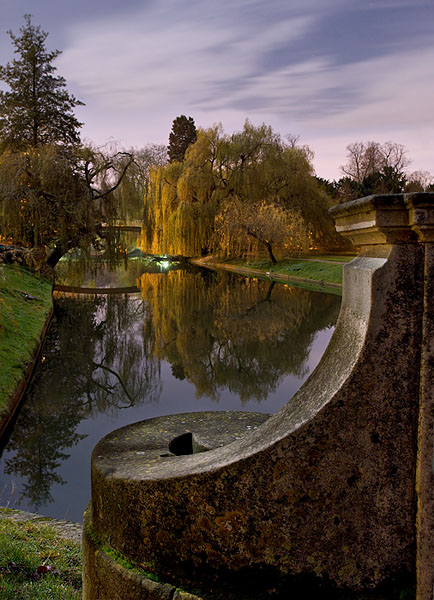 River Cam from Trinity Bridge within Trinity College at Cambridge University in England