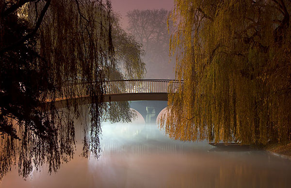 Garret Hostel Lane Bridge in fog within Cambridge University in England