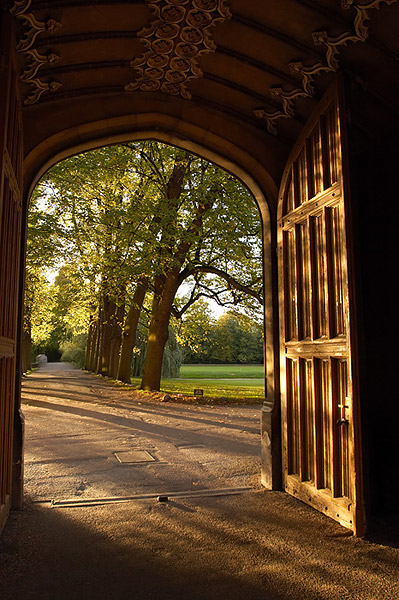 Sunset Through Trinity Doorway - Trinity College, Cambridge University in England
