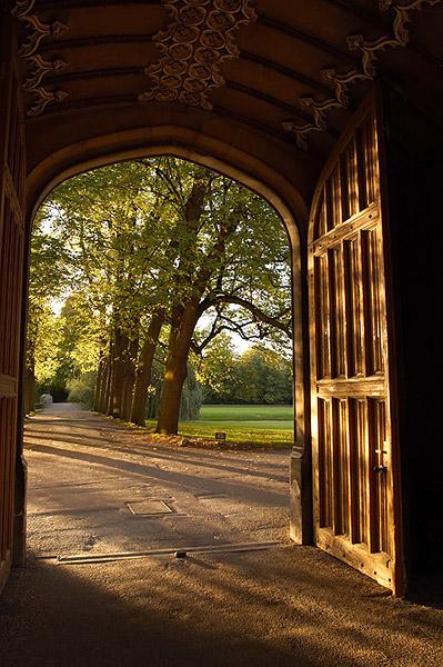 Sunset Through Trinity Doorway - Trinity College, Cambridge University in England