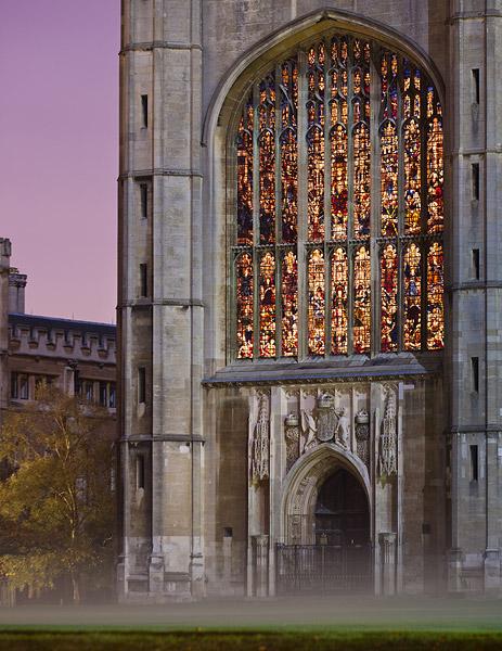 Door to King's College Chapel in Mist - Cambridge University in England
