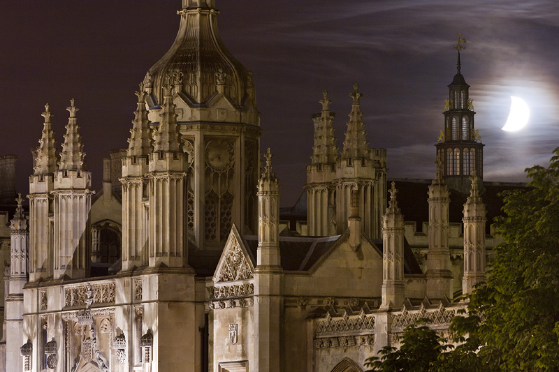 crescent moon over the entrance to King's College at Cambridge University in England