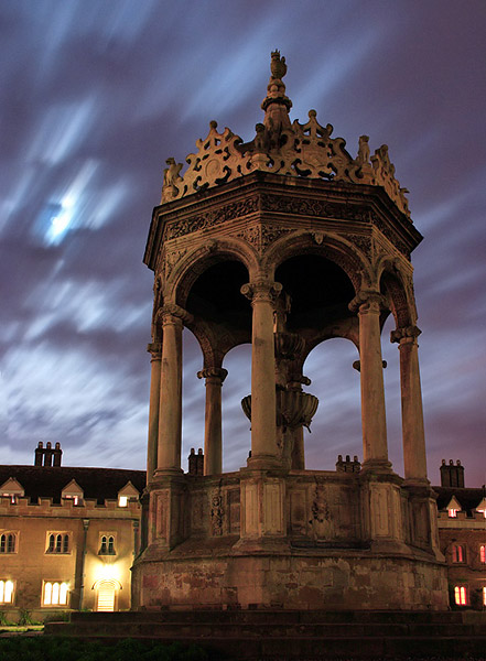 Trinity College fountain at Cambridge University in England