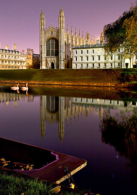 Night photo of Swans on the River Cam in front of Kings College, Cambridge