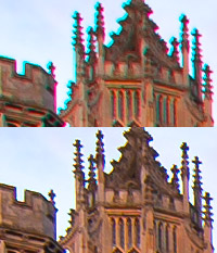chromatic aberration removal before and after