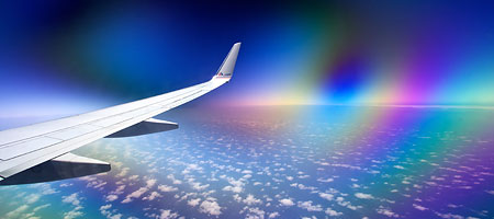 polarizing filter through an airplane window - birefringement patter