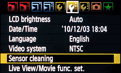 sensor cleaning - LCD menu