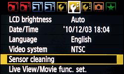 очистка сенсора — меню камеры