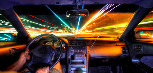 using a slow shutter speed inside a moving car