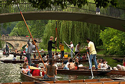 crowded punters on the River Cam